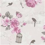 Vliesové tapety na zeď Zuhause Wohnen3 - Vintage Bird světle růžové