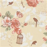 Vliesové tapety na zeď Zuhause Wohnen3 - Vintage Bird oranžové