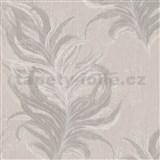 Vliesové tapety IMPOL Mata Hari peříčka hnědé se stříbrnými detaily na béžovém podkladu