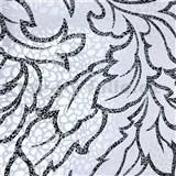 Vliesové tapety na zeď Messina listy stříbrno-černé