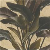 Luxusní vliesové tapety na zeď IMPOL Metropolitan Stories listy hnědé na zlatém podkladu