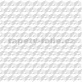 Vliesové tapety na zeď Modern 3D kostky bílo-šedé