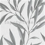 Vliesové tapety na zeď IMPOL Modernista listy stříbrné s laserovým efektem na šedém podkladu