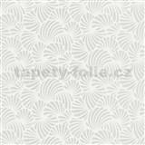 Vliesové tapety na zeď Nabucco malý vějířovitý vzor stříbrný na bílém podkladu