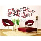 Samolepky na zeď Red Squares 50 cm x 70 cm