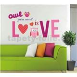 Samolepky na zeď sovy Love růžové