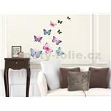 Samolepky na zeď barevní motýli, 50 x 32 cm