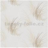 Vliesové tapety na zeď Natalia tráva hnědá na bílém podkladu