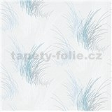 Vliesové tapety na zeď Natalia tráva modrá na bílém podkladu