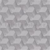 Vliesové tapety na zeď Natalia 3D kostky šedé s třpytkami