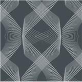 Vliesové tapety na zeď Natalia 3D geometrický vzor stříbrný na černém podkladu