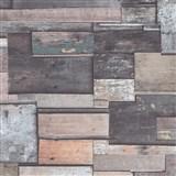 Vliesové tapety na zeď Natalia obklad z dřeva hnědo-šedý
