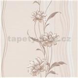 Vliesové tapety na zeď Natalia květy hnědé na podkladu s vlnovkami