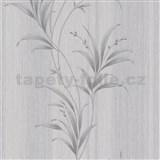 Vliesové tapety na zeď Natalia listy stříbrné na šedém podkladu
