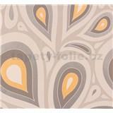 Vliesové tapety na zeď NENA kapky oranžovo-stříbrné