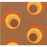 Vliesové tapety na zeď NENA moderní bubliny cihlově oranžové