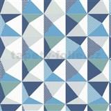 Vliesové tapety na zeď NENA 3D vzor modro-šedý