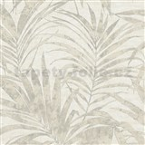 Vliesové tapety na zeď IMPOL NEU listy palmy hnědé na krémovém podkladu