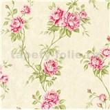 Vliesové tapety na zeď IMPOL Romantico popínavé růže červeno-zelené na krémovém podkladu