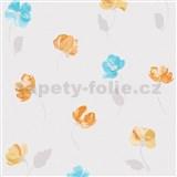 Vliesové tapety na zeď Nizza drobné kvítky modro-oranžové