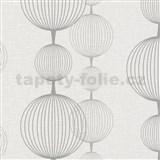 Vliesové tapety na zeď Alizé koule šedo-stříbrné na krémovém podkladu