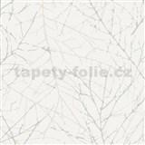 Vliesové tapety na zeď Belinda větvičky krémové na bílé struktuře
