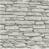Vliesové tapety na zeď Belinda kámen ukládaný šedo-černý