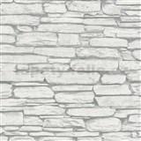 Vliesové tapety na zeď Belinda kámen ukládaný šedo-bílý