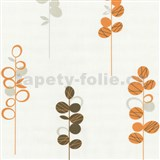 Tapety na zeď Novara - stonky květů oranžovo-hnědé