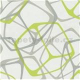 Vliesové tapety na zeď Poco - 3D kostky zeleno-stříbrné MEGA SLEVA