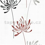 Vliesové tapety na zeď Novara květy červené a černé na bílém podkladu