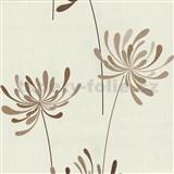Vliesové tapety na zeď Novara květy hnědé - SLEVA