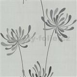 Vliesové tapety na zeď Novara květy šedé