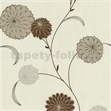 Vliesové tapety na zeď Novara květy hnědé