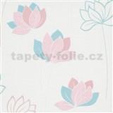 Vliesové tapety na zeď IMPOL Novara 3 květy růžovo-modré na bílém podkladu