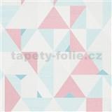 Vliesové tapety na zeď IMPOL Novara 3 geometrický vzor růžovo-modrý
