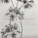 Vliesové tapety na zeď Novara 3 květy šedé se stříbrnými stonky