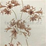 Vliesové tapety na zeď Novara 3 květy hnědé se zlatými stonky na bílém podkladu