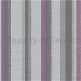 Vliesové tapety na zeď Novara 3 pruhy fialové, šedé a stříbrné