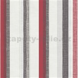 Vliesové tapety na zeď Novara 3 pruhy červené, černé a stříbrné