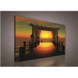 Obraz na plátně západ slunce nad molem 75 x 100 cm