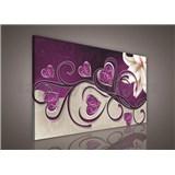 Obraz na plátně srdce fialové s lilií 75 x 100 cm