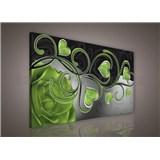 Obraz na plátně srdce se zelenou růží 75 x 100 cm
