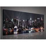 Obraz na plátně velkoměsto v noci 145 x 45 cm