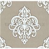Vliesové tapety na zeď Opal ornament bílý na hnědém podkladu