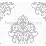Vliesové tapety na zeď Opal ornament šedý na bílém podkladu
