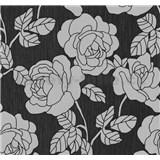 Vliesová tapeta na zeď Opal květy na černém podkladu s jemným třpytem