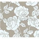 Vliesové tapety na zeď Opal květy na hnědém podkladu s jemným třpytem