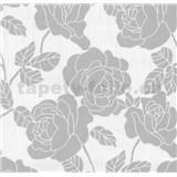 Vliesové tapety na zeď Opal květy na bílém podkladu s jemným třpytem
