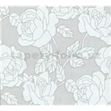 Vliesové tapety na zeď Opal květy na světle šedém podkladu s jemným třpytem